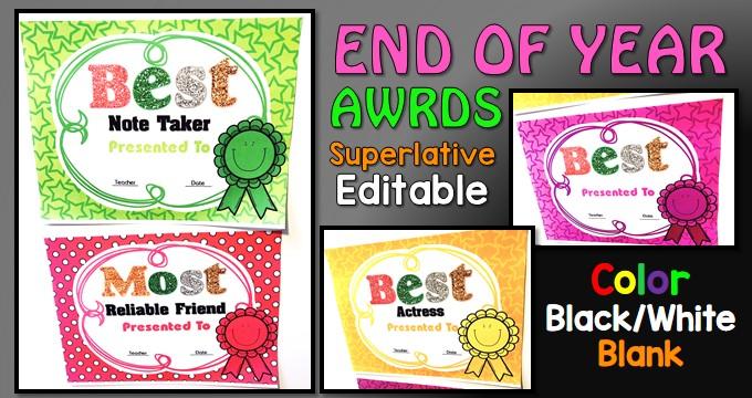end of year student awards editable superlative  u0026gt  nastaran u0026 39 s resources