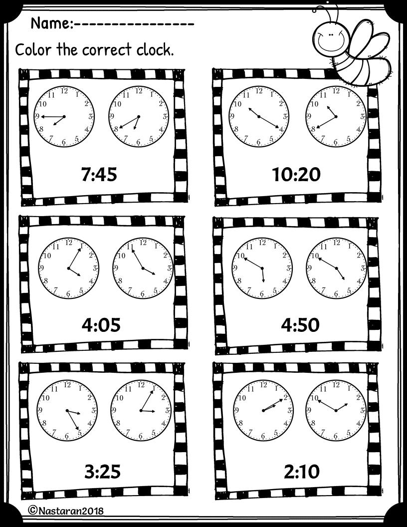 free telling time worksheet nastaran 39 s resources. Black Bedroom Furniture Sets. Home Design Ideas